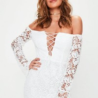 Missguided - White Crochet Bardot Lace Up Front Bodycon Dress