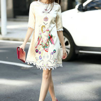 Beige High Neckline Half Sleeve Angel Print Shift Dress