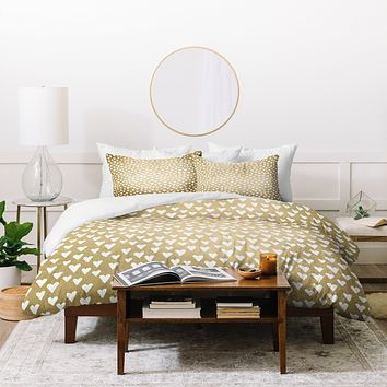 Elisabeth Fredriksson Little Hearts On Gold Duvet Cover