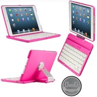 CoverBot iPad Mini 3, iPad Mini Retina Display and iPad Mini Keyboard Case Station PINK. Bluetooth Keyboard For 7.9 Inch New Mini iPad with IOS Commands. Folio Style Cover with 360 Degree Rotating Viewing Stand Feature