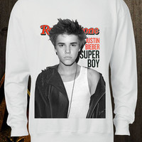 JUSTIN BIEBER rolling stones handmade high quality ditailed by hand screen printed white men women sweatshirt
