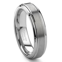 CleverEve Tungsten Nation 6mm Tungsten Ring Engagement Classic Brushed & Polished Tungsten Wedding Band (Sz 5 to 14)