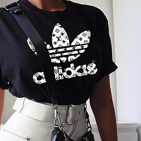 Onewel LV Louis Vuiton Adidas Joint name Trending Women Man Letters Simple Print Tee Shirt Top Black