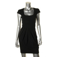 Pippa Womens Pleated Cap Sleeves Cocktail Dress - 0 / Black