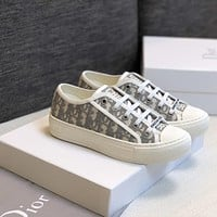 Dior embroidered canvas women's low-top sneakers shoes