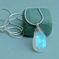Moonstone pendant blue flash pear shape with solid silver bail and necklace