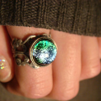 Antique Silver Ox Dichroic Glass Galaxy Ring   - Adjustable ( 849)