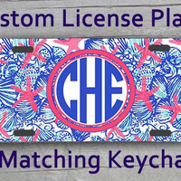 Custom Monogrammed personalized license plate. Lily Pulitzer She She Shell inspired Vanity car tag. Gifts under 20 #1072
