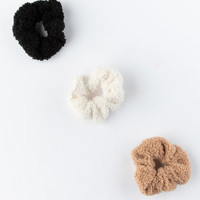 FULL TILT 3 Pack Black Teddy Scrunchies