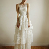 Ardelis -ivory and silver lace gown - etsy exclusive