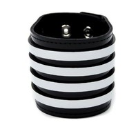 "Black & White Stripe Leather Wristband Bracelet Cuff 2-1/2"" Wide"