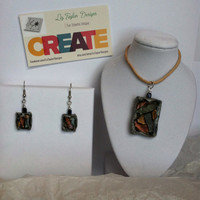 Diachromatic stained glass effect Polymer Clay jewelry set elegant earrings and pendant. Original and Unique and one of a kind!