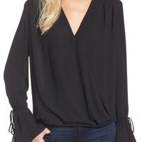 Trouvé Surplice Tie Sleeve Top | Nordstrom