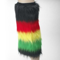 Rasta (Blak, Red, Yellow, Green) Furry Leg Warmer - One size fit all (One Pair)