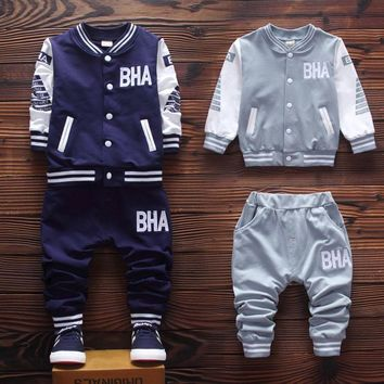 2016 Autumn new children clothing set cotton jacket with casual pants baby boys clothes A073
