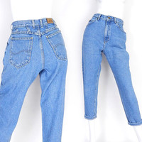 """Vintage 80s High Waisted Baggy Women's Lee Jeans - Size 6 Petite - Relaxed Loose Fit Tapered Leg Medium Blue Short Mom Jeans - 27"""" Waist"""