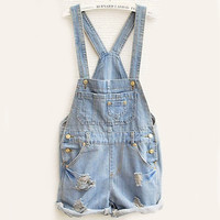 SUNFASHION Women Fashion Clothing Sky Blue Overalls Pocket Jumpsuit = 1930304004