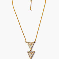 Gold Triple Stoned Arrow Head Necklace