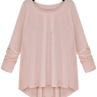 Pink Loose Fitting Long Sleeve Top