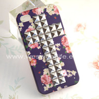 Iphone 4S case, Iphone 4 Case, Silver Cross Studded Iphone Case, Flower rose Iphone 4 4S Case, dark purple Hard case