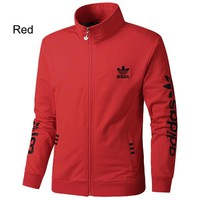 ADIDAS Clover 2018 autumn and winter new casual knit breathable sports jacket Red