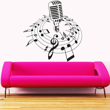 Wall Decal Vinyl Sticker Decals Art Decor  Microphone Mic Melody Notes Song Singer Juzz Bedroom Dorm Lounge Kids Sound Living room ( r751)