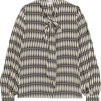 Lanvin - Printed silk crepe de chine pussy-bow blouse