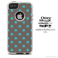 The Gray & Blue Polka Skin For The iPhone 4-4s or 5-5s Otterbox Commuter Case