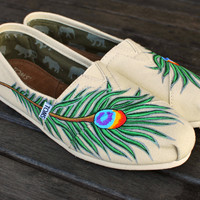 Peacock Feather TOMS Natural Canvas