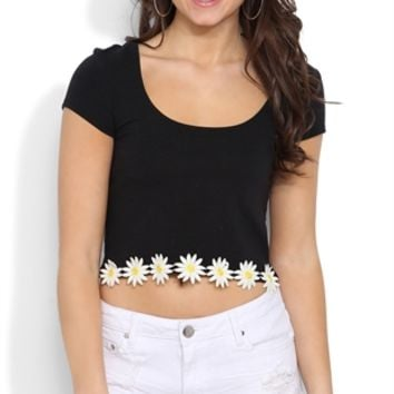Short Sleeve Crop Top with Daisy Trim