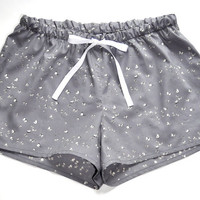 French Cotton Pajamas Shorts Gray With White Butterfly