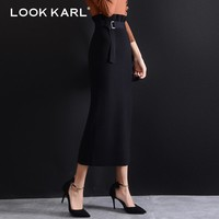 LOOK KARL Wool Stretch Knitted High Waist Skirt Women Fashion Slim Pencil Skirts Female Retro Sexy Long Skirt Autumn Winter