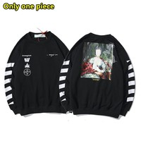 OFF-WHITE Simple casual portrait Marianna oil painting direct spray printing cotton round neck sweater