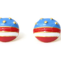 American Flag Earrings United States of America USA Dome Stars and Stripes Studs