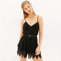 Sexy Deep V Backless Lace Patchwork Spaghetti Strap Romper [6315995841]