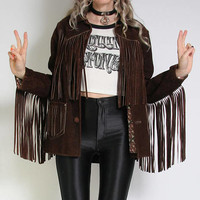 70s Suede Fringe Jacket - Vintage Leather Jacket - Womens Small - Long Fringe Leather Jacket - Chocolate Brown - Hippie Boho 70s Clothing