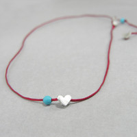 Hearts choker necklace, Sterling silver, beads, Summer stacking necklace, minimalist