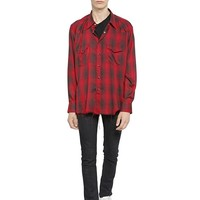 Indie Designs Saint Laurent Inspired Red Raw Cut Checked Viscose Western Shirt