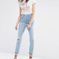 ASOS FARLEIGH High Waist Slim Mom Jeans In Sweet Mid Stonewash with Busted Knees