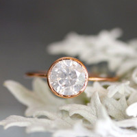 White - Gray Diamond in 14K Rose Gold Engagement Ring - Ready to Ship