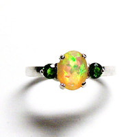 "Ethiopian opal, opal accent ring, opal 3 stone ring, opal ring, orange yellow green,  anniversary, s 7   ""Scent of a Rainbow"""