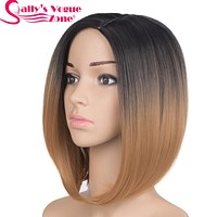 Ombre Black Blonde Color Bob Wig For Women
