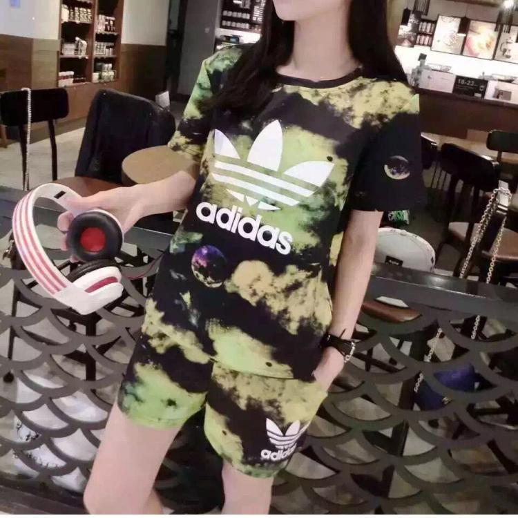 """Image of """"Adidas"""" Fashion Casual Galaxy Clover Letter Print Short Sleeve Set Two-Piece Sportswear"""
