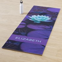 Magical Purple Lotus Flower Add Name or Text Yoga Mat