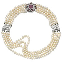 Natural pearl, ruby and diamond choker, early 20th century and later   lot   Sotheby's