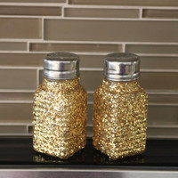 Gold Salt and Pepper Shakers, Gold Table Decor, Modern Salt and Pepper Shaker, Gold Accent, Gold Glitter Decor, Salt and Pepper Shakers