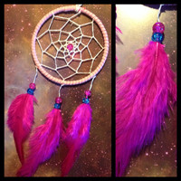 Pink suede dream catcher with pink feathers, white web and & glass bead finish 7cm diameter dreamcatcher hand made
