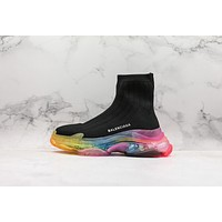 Balenciaga Black Knit Sock Sneakers With Rainbow Clear Sole