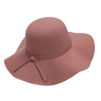 Brown Bow Tie Woolen Floopy Fedora Hat