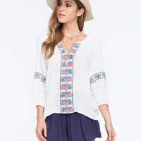 Patrons Of Peace Embroidered Womens Peasant Top White  In Sizes